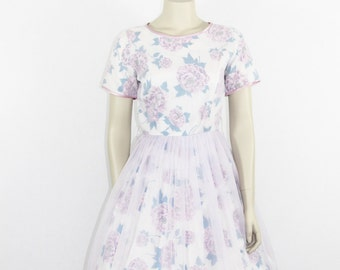 1950's Garden Party Dress -  Spring Floral Novelty Print Lavender Chiffon Party Dress - 35 / 25 / full