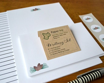 Letter Writing Stationery Set - Pine Cones, Pine needles on white paper