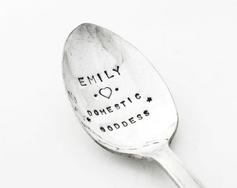 Hand Stamped Spoon for the Domestic Goddess in your life - A beautiful unique gift from Goozeberry Hill