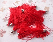 25pcs red color Silk/Satin Leather Tassels with Silver Color Cap, DIY Cell Phone or Available Earring Pendant Findings