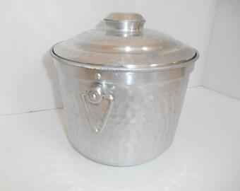 Vintage Ice Bucket -- Hammered Aluminum Retro Style