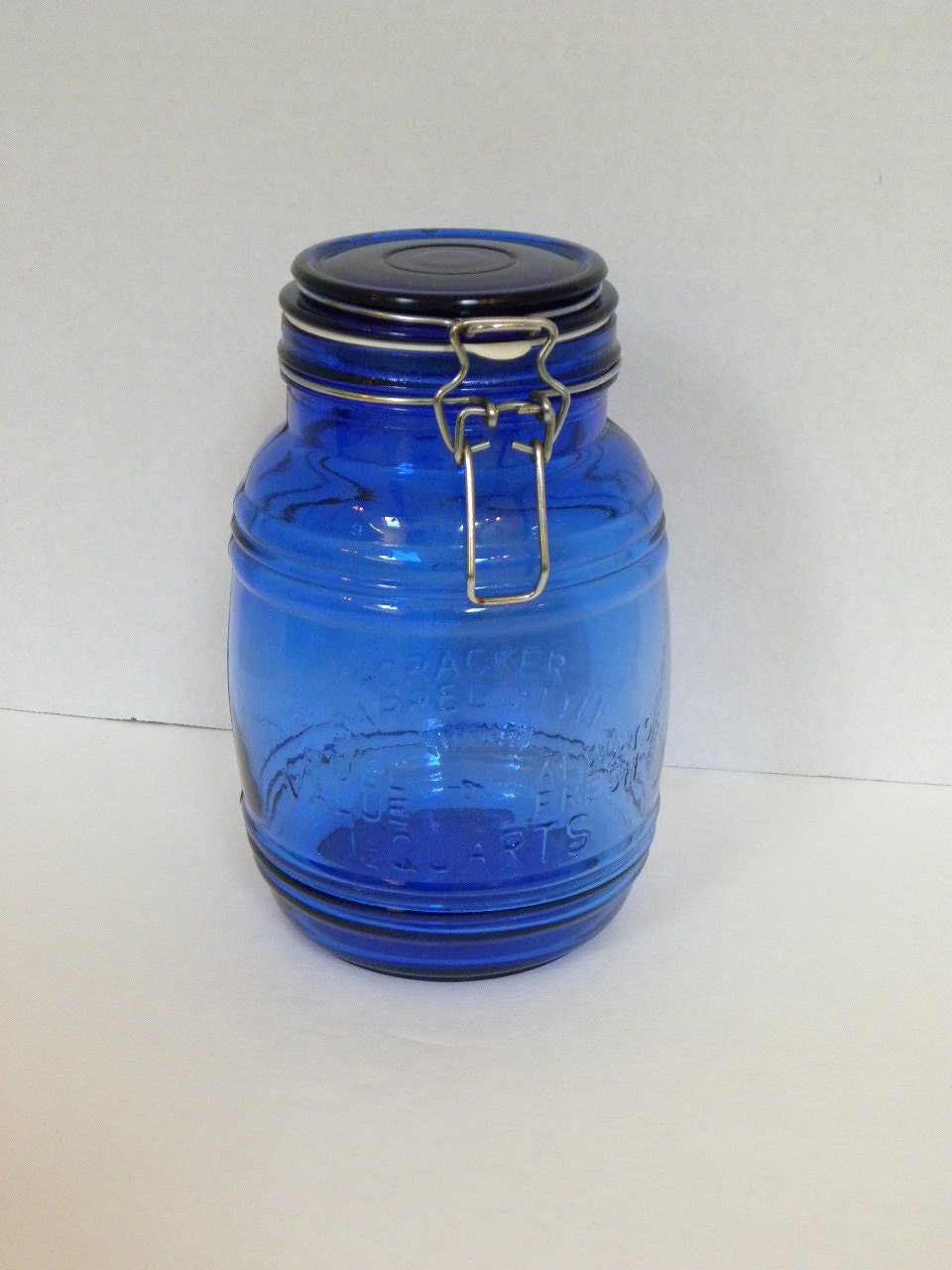 Vintage Cobalt Blue Glass Canister Jar Cracker Barrel Style