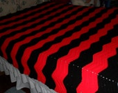 New( Ready to Ship) Crocheted Afghan(Queen) - Blanket - Throw - Bedspread - Coverlet  ''CHEVRON RIPPLES''  in Black and Red