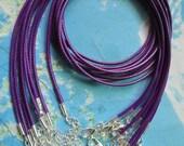 Bright silver finish--10pcs1.5mm dark purple korea wax string snake necklace cords