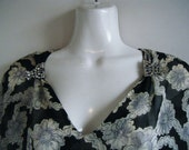 late 30s early 40s party dress with rhinestone dress clips and gorgeous floral print on black, size l - xl