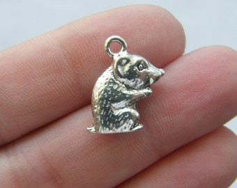 4 Hamster charms antique silver tone A92