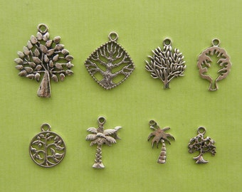 The Tree Charms Collection - 8 different antique silver tone charms