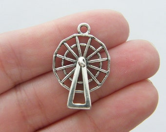 2 Ferris wheel pendants antique silver tone P43