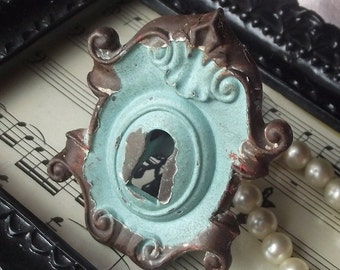 Rustic Cast Iron Lock Knob  / Drawer Pulls/ Shabby Chic/ Rustic/ Cupboard Knobs/ Drawer Handles/ Nursery/Robins Egg Blue