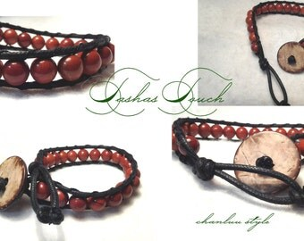 Healing Red Jasper-wood button  bracelet