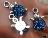 10pcs - Antique silver - turtle - cabochon setting - glue on pendant - tray - Nautical - sea life - animal