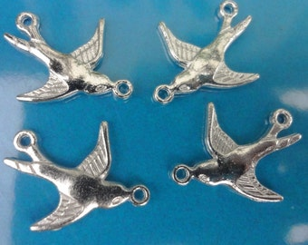 10pcs - bright - silver plated - LOVELY BIRD - 2 loop - pendant - connectors - reversible - double sided