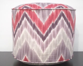 Chevron pouf ottoman gray, taupe, violet and red, round 18 floor pouf ikat print, pouffe ottoman as foot rest, home decor gift ideas for her