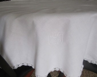 "50"" ROUND Tablecloth WHiTE COTTON crocheted edging monogram"