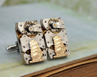 steampunk cuff links, JOURNEY, antique Elgin jeweled watch movement cuff links