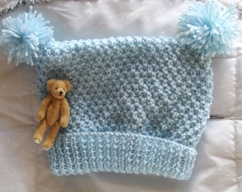 Baby KNITTING PATTERN - Baby or Doll's Pom Pom Hat - Easy knit Preemie sizes to 3/6 months