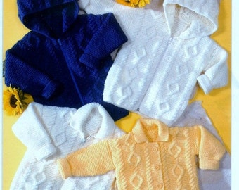 Knitting PATTERN -  Knitted Aran Jackets to fit 20 to 30 inches  Baby Child Teen sizes