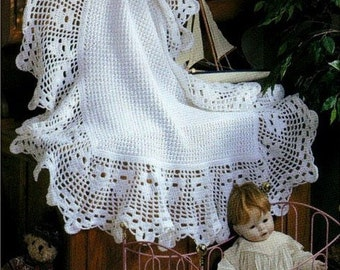 PDF download - CROCHET PATTERN Heirloom Baby Afghan//Blanket/Shawl Bebe Pattern Lace