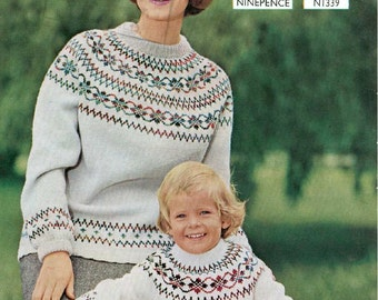 Vintage Knitting Pattern - Mother and Daughter Sweaters Fair Isle - 36 to 38 in and 28 chest PDF