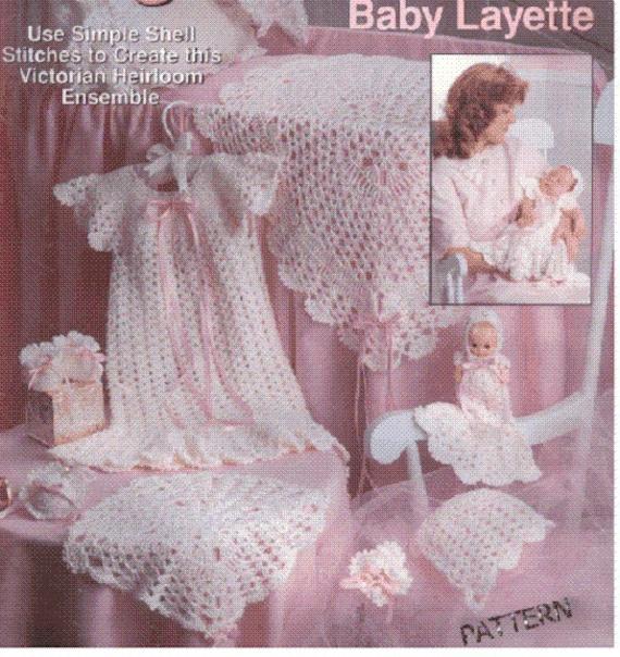 Baby Crochet Pattern Layette Set Blanket Dress By Carolrosa