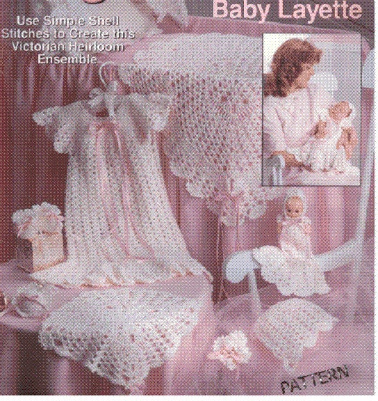 Baby Crochet Pattern Layette Set Blanket Dress By Carolrosa