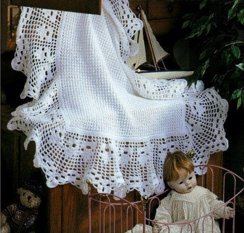 Sale Crochet Pattern Heirloom Baby Afghan Blanket Shawl