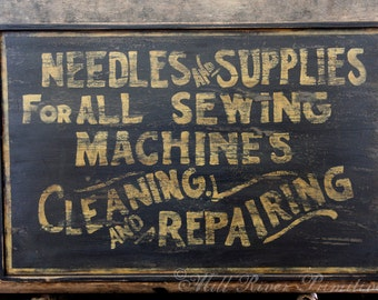 Aged Primitive Early Looking Sewing Supply Wood Sign