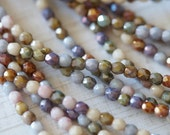 3mm Fire Polished Luster Mix - Luster Fire Polished Beads - Antique - Bead Soup Beads