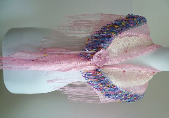 Pink Knit Multicolor Fringe Triangle Scarf with Ivory Lace/ Flowers, Hip Scarf Ttribal Bellydance Hip Shawl, Gypsy, Steampunk
