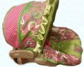Larissa Floral Ikat/Hot Pink Dot/Jade Minky Dot Infant Car Seat Cover 5 piece set