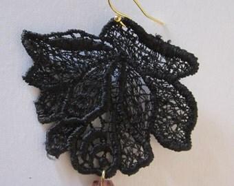 Black Venice Lace Earrings