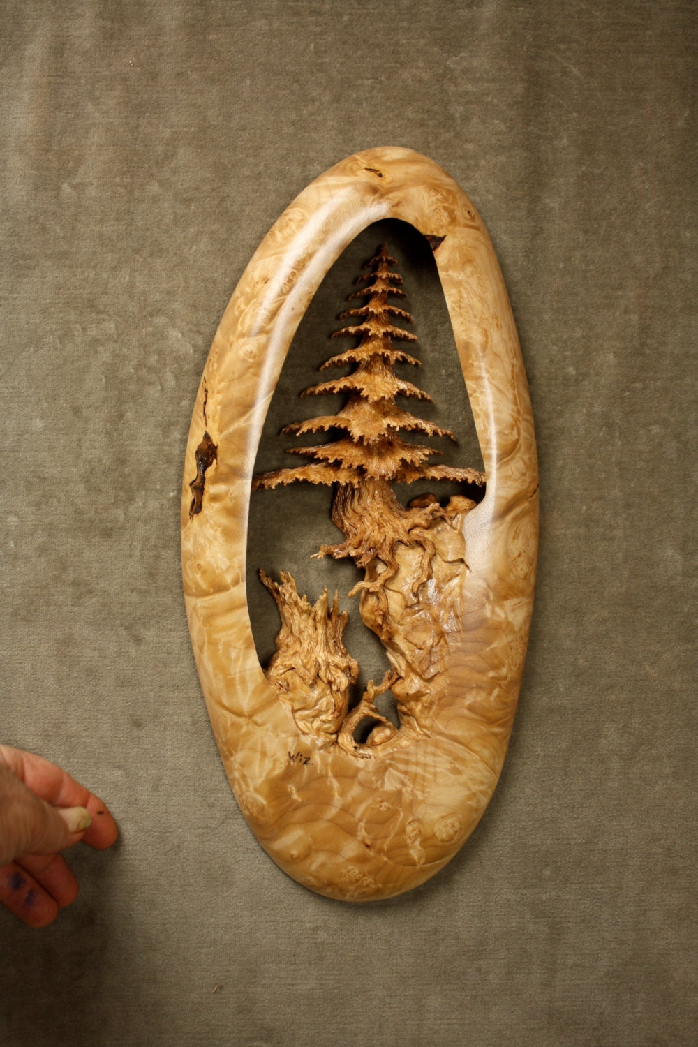 Wood carving of a tree art wall hanging one kind log