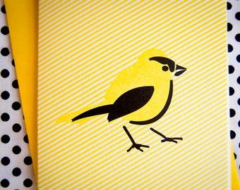 Goldfinch Bird Letterpress card