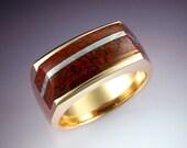 14k gold laminated Dinosaur Bone and meteorite ring