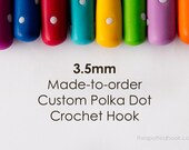 3.5mm Crochet Hook, Made-to-Order Custom Colour Polka Dots, comfortable polymer clay handle for easy use