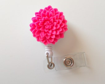 Candy Pink Chrysanthemum Flower  - Name Badge Holder - Retractable ID Badge Reel  - Nurse ID Badge Clip - Flower Badge Holder