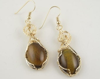 WSE-0056 Tiger Eye Gemstone Handmade Earring Wire Wrapped with14k Gold Filled  Wire