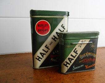 Set of Two Vintage Collectible Tins / Half and Half Tobacco