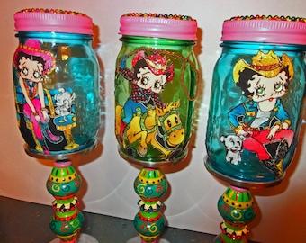 Betty Boop Solar Mason Jars