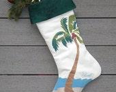 "PALM TREE STOCKING Christmas 24"" (61cm) Florida coastal beach tropical gulf island Atlantic nautical boating yachting Crabby Chris Original"