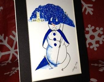 "5"" x 7"" Print of Duke Blue Devil Snowman!  Black Mat Included"
