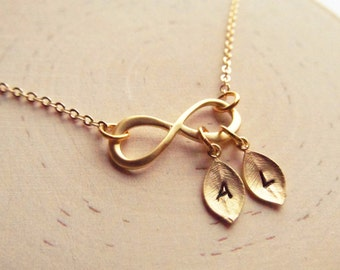 Gold Infinity Necklace with Initial, Personalized Necklace, Mothers Jewelry, Couples Necklace, Eternity Necklace, Engagement Gift