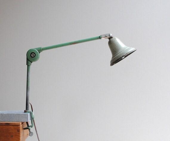 Industrial Vintage Clamp Lamp Desk Lamp In Seafoam Green