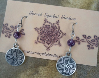 Amethyst Dangle Earrings Silver Pewter Labyrinth Earrings Natural Yoga Earrings Spiritual Jewelry New Age Jewelry Meditation Jewelry Hipster