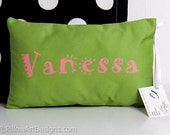 Personalized Girls Name Pillow Mini 8 X 12 Apple Green Fuchsia Pink Hand Painted Made in Canada