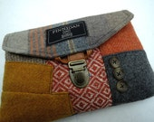 Clutch, Purse Made From Recycled Suit Coat,  Orange Gray Plaid,Eco Friendly