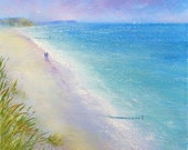Beach Walkers III original oil on canvas seascape painting