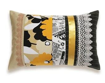 Black White Beige Yellow Lumbar Pillow Case 12 x 18 in IRMA DESIGN Limited Edition Newspaper Article Pop Art Print