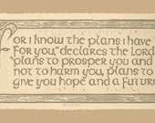 Hand-Printed Embossed Linoleum Print of Comforting Scripture Jeremiah 29:11 is Printed with Dark Gold Ink on Tan Printing Paper