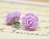 Lilac Flower Earrings on Stainless Steel, Pretty Pastel Purple Posts for Sensitive Ears, Lavender Flowers, Mod Studs